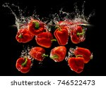 red bell pepper falling in... | Shutterstock . vector #746522473