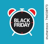 flat black friday alarm clock... | Shutterstock .eps vector #746538973
