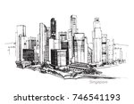 vector panoramic singapore city ... | Shutterstock .eps vector #746541193