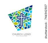 church logo. christian symbols. ... | Shutterstock .eps vector #746542507