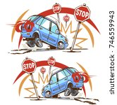 emergency braking in front of a ... | Shutterstock .eps vector #746559943