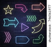 set of neon frame star arrows... | Shutterstock .eps vector #746561977