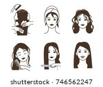 woman making hair straightening ... | Shutterstock .eps vector #746562247