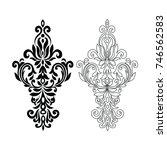 set vintage baroque pattern.   Shutterstock .eps vector #746562583