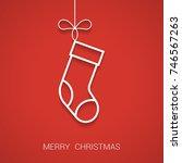 christmas sock outline.... | Shutterstock .eps vector #746567263