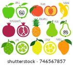 colorful brush grunge fruits... | Shutterstock .eps vector #746567857