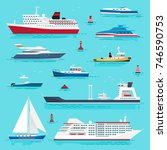 set of sea transport flat style ... | Shutterstock . vector #746590753
