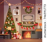 christmas and new year... | Shutterstock .eps vector #746591773