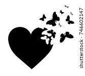 Stock vector black butterfly heart isolated on a white 746602147