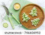 christmas tree sandwiches with...   Shutterstock . vector #746606953