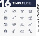 set of 16 party outline icons... | Shutterstock .eps vector #746609743