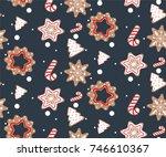 christmas vector endless...   Shutterstock .eps vector #746610367