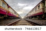 the classic  old asia train on... | Shutterstock . vector #746613817