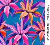 cordyline fruticosa seamless... | Shutterstock .eps vector #746625517