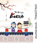 the beautiful of korea  a child ... | Shutterstock .eps vector #746637463