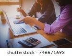 businessman making presentation ... | Shutterstock . vector #746671693