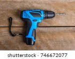 close up electric drill on... | Shutterstock . vector #746672077