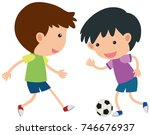 two boys playing soccer... | Shutterstock .eps vector #746676937