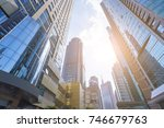 low angle view of skyscrapers | Shutterstock . vector #746679763