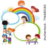 border template with kids... | Shutterstock .eps vector #746680183