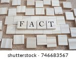 Small photo of Fact word on cube wood