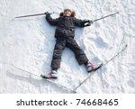 young boy lying in cross... | Shutterstock . vector #74668465