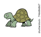 cute cartoon turtle or giant... | Shutterstock .eps vector #746686867