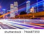 blurred traffic light trails on ... | Shutterstock . vector #746687353