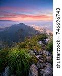 a scenery of beautiful sunrise... | Shutterstock . vector #746696743