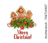 merry christmas wish of... | Shutterstock .eps vector #746714407