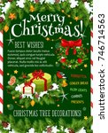 merry christmas wish greeting... | Shutterstock .eps vector #746714563
