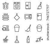 thin line icon set   bin ... | Shutterstock .eps vector #746727757