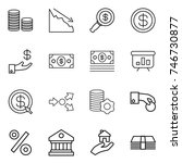 thin line icon set   coin stack ... | Shutterstock .eps vector #746730877