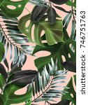 tropical palm leaves seamless... | Shutterstock . vector #746751763