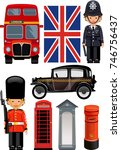 a royal guard  and  british... | Shutterstock . vector #746756437