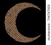 spiral celtic moon  isolated on ...   Shutterstock .eps vector #746767003