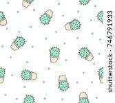 Green Cactus Doodle Seamless...