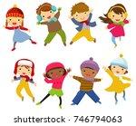 group of winter children   Shutterstock .eps vector #746794063