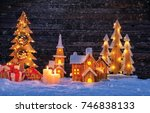 christmas background with... | Shutterstock . vector #746838133