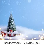 christmas tree and holidays... | Shutterstock . vector #746860153
