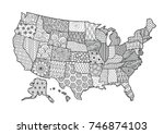 floral usa map for design... | Shutterstock .eps vector #746874103