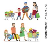 family making holiday purchases.... | Shutterstock .eps vector #746875273