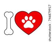 sign love dog on white... | Shutterstock .eps vector #746879917