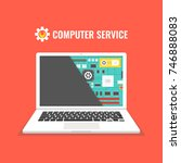 laptop repair  computer service.... | Shutterstock .eps vector #746888083