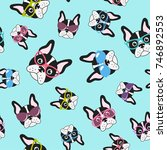 pattern with french bulldogs... | Shutterstock .eps vector #746892553