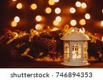 christmas lantern with burning... | Shutterstock . vector #746894353