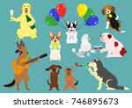 party dogs | Shutterstock .eps vector #746895673