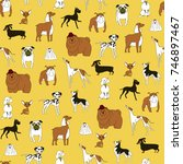 breeds of dogs seamless pattern.... | Shutterstock .eps vector #746897467