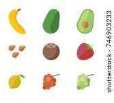 fruit vector icon set | Shutterstock .eps vector #746903233