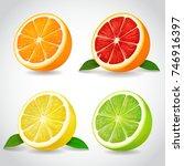 fresh citrus fruit halves.... | Shutterstock .eps vector #746916397